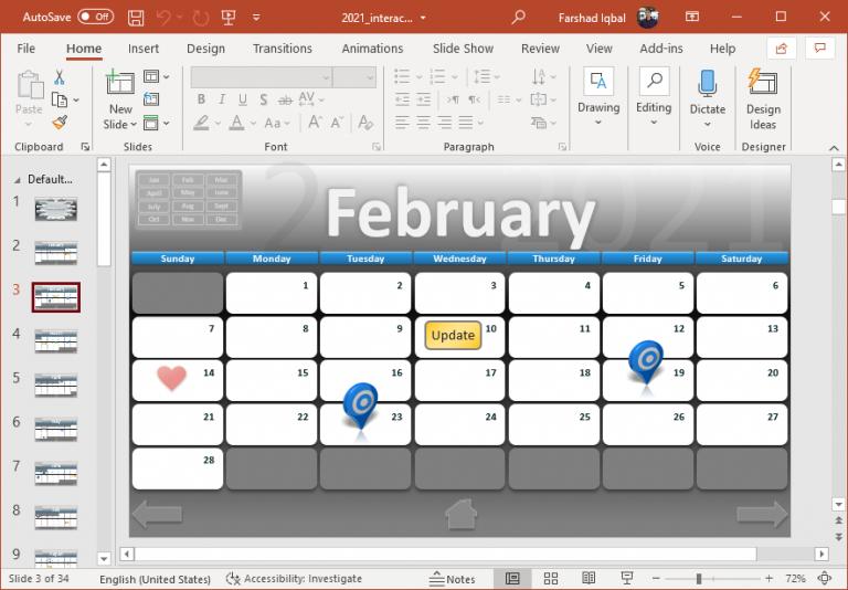 Interactive 2021 Calendar Powerpoint Template Free Interactive Calendar Templates