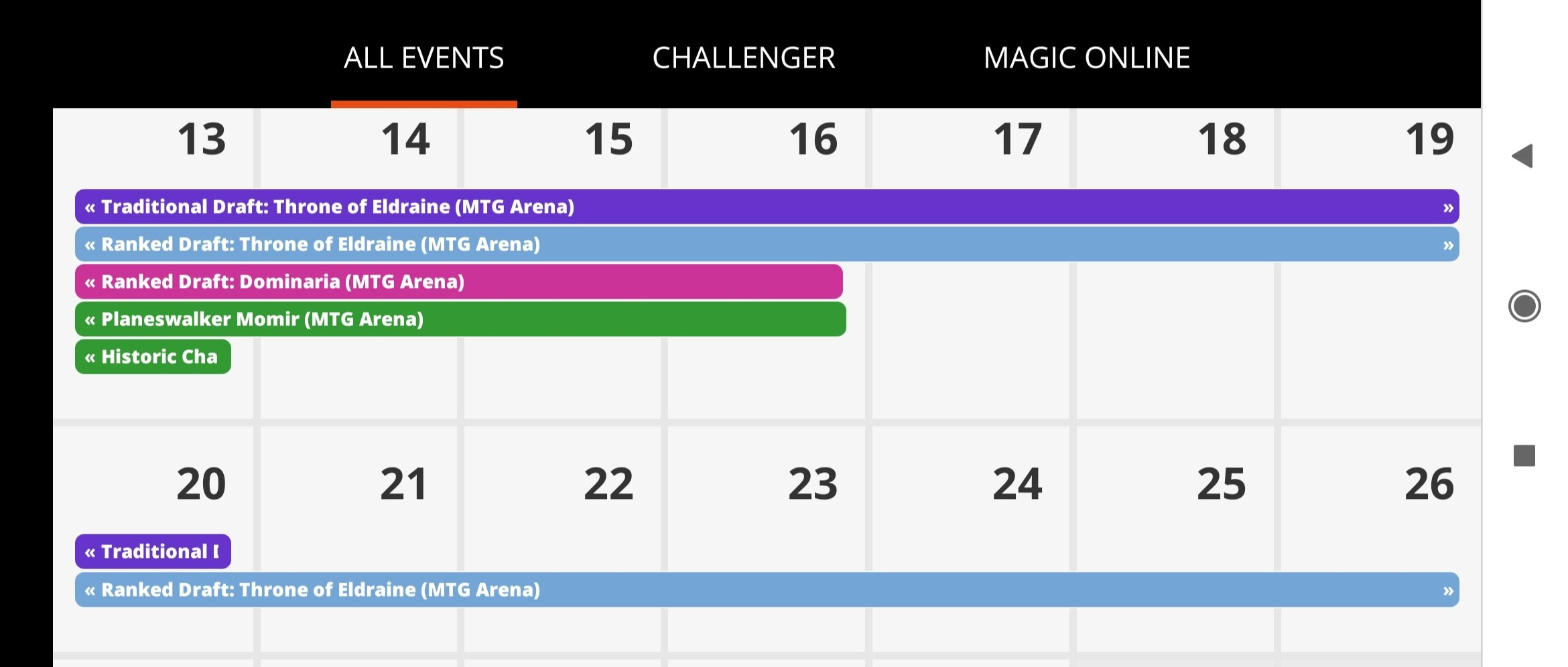 Is There Really Not Any Thb Events For This Or Next Week Calendar For The Next 2 Weeks