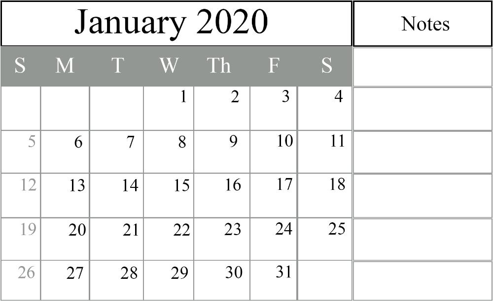 January 2020 Calendar Excel - Free Monthly Calendar 12 Month Calendar Editable Templates