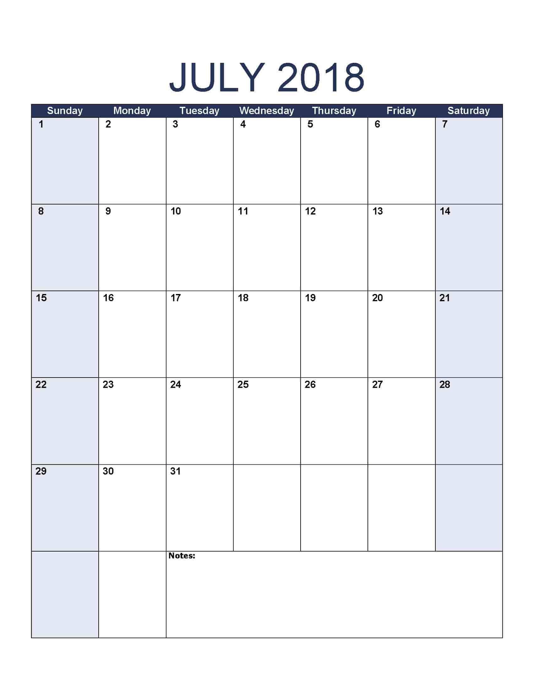 July 2018 Calendar - Free, Printable Calendar Templates Free Caolendar To Fill In Online