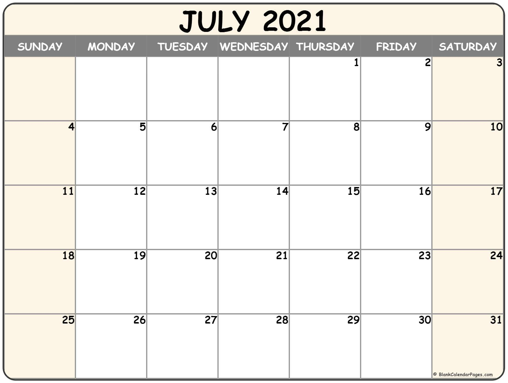 July 2021 Blank Calendar Templates. Free Bold Printable Calnder Jully