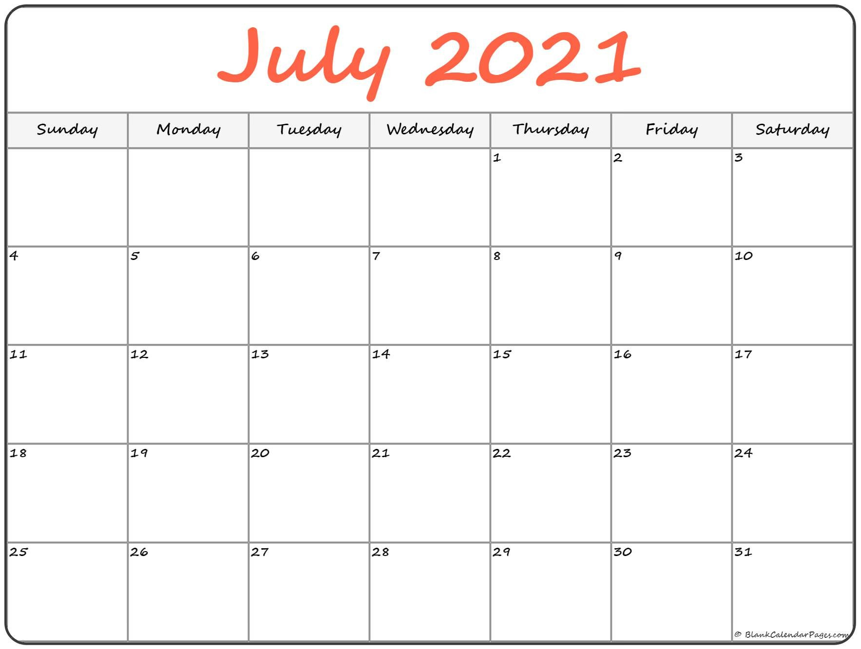 July 2021 Calendar | Free Printable Calendar Free Bold Printable Calnder Jully