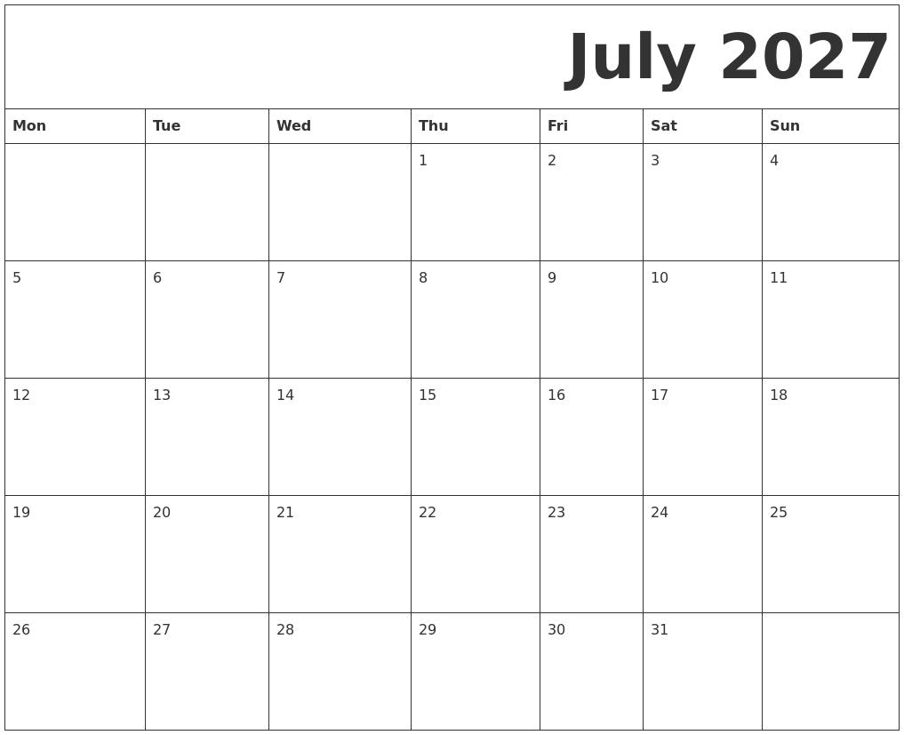 July 2027 Free Printable Calendar Free Bold Printable Calnder Jully