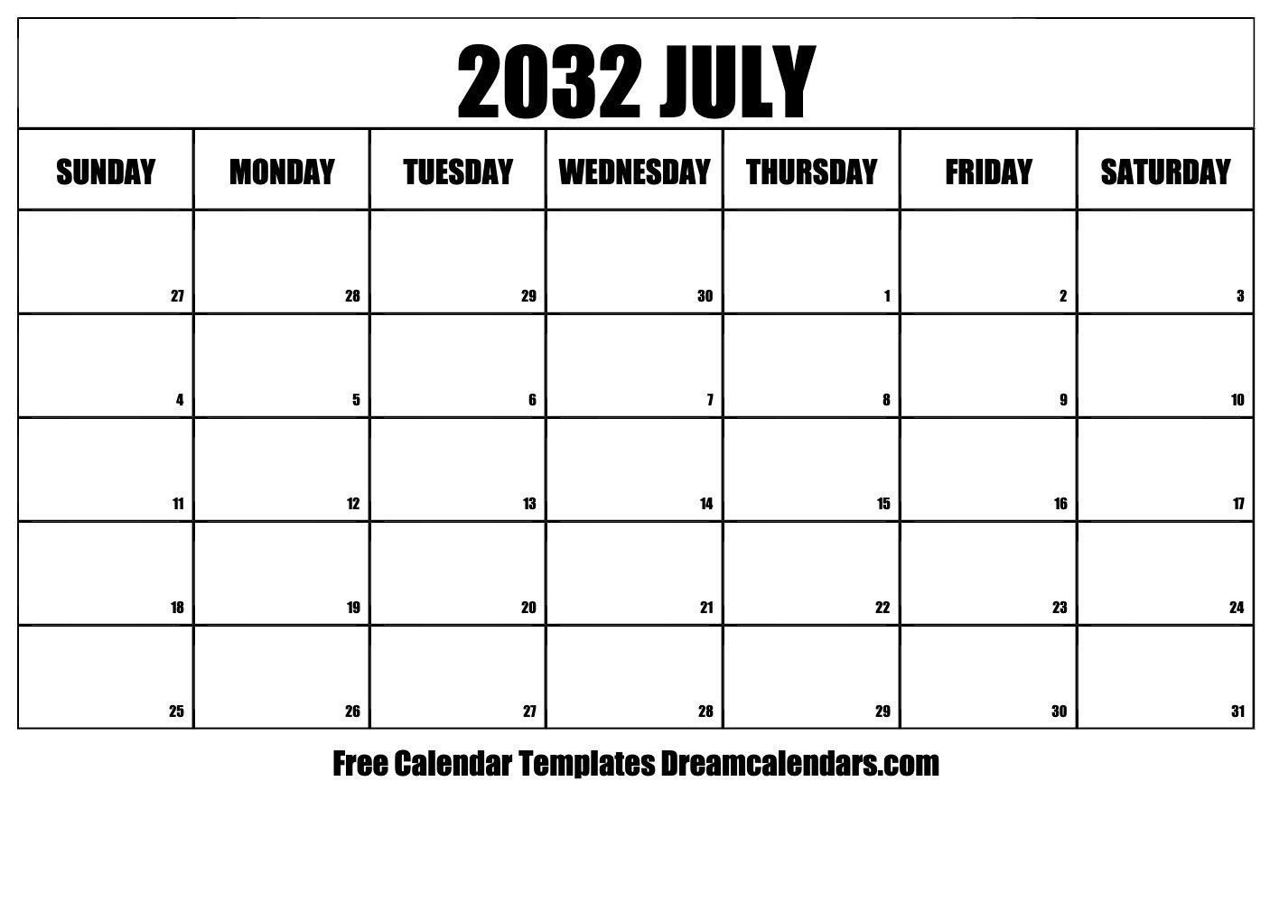 July 2032 Calendar | Free Blank Printable Templates Free Bold Printable Calnder Jully