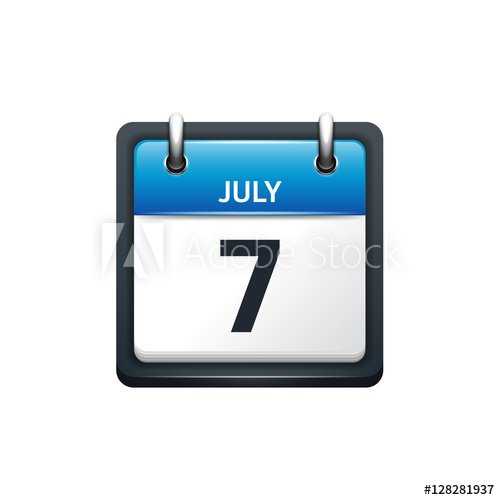 July 7. Calendar Icon.vector Illustration,Flat Style.month Sunday Through Saturday Planner