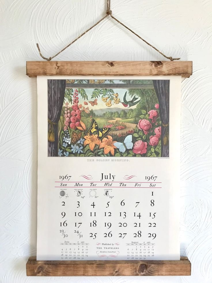 June And July 1967 Antique Currier And Ives Calendar 3 Month Wooden Calendar Frame