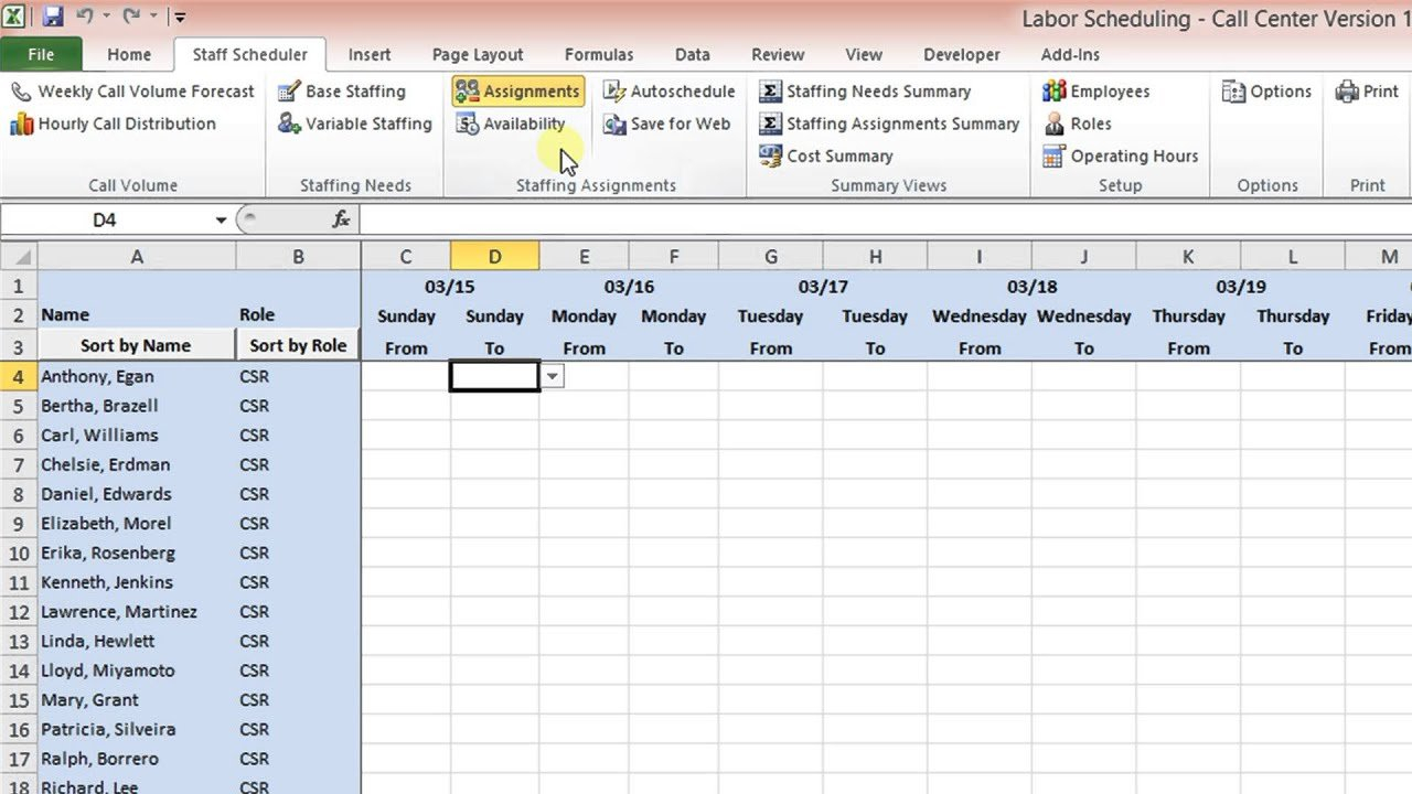 Labor Scheduling Template For Excel Call Center Version On Call Calendar Template