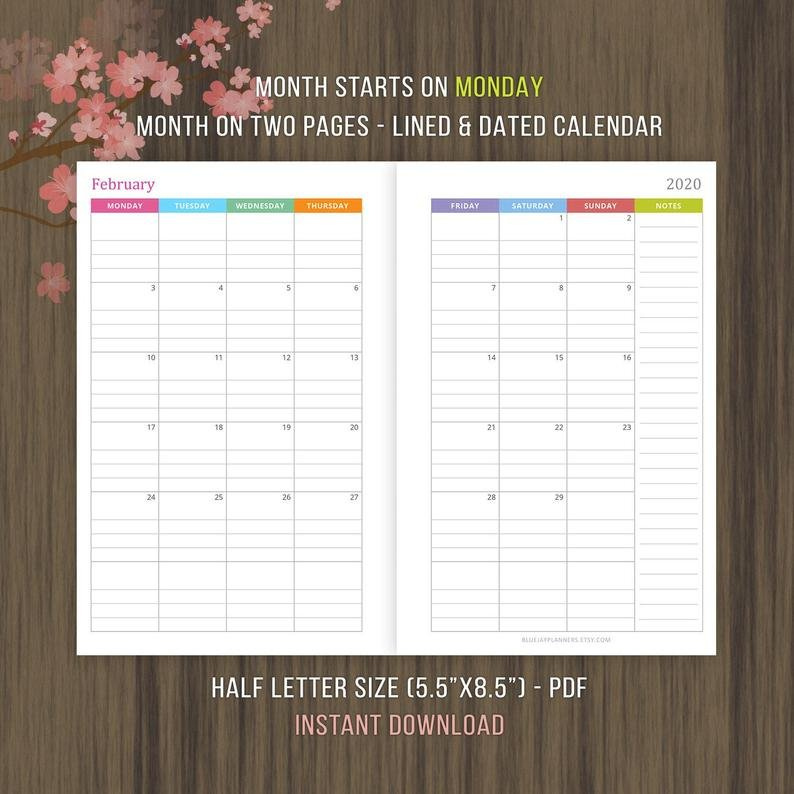 Lined And Dated Monthly Calendar 2020 Mo2P Inserts Planner Monthly Lined Calendar Template