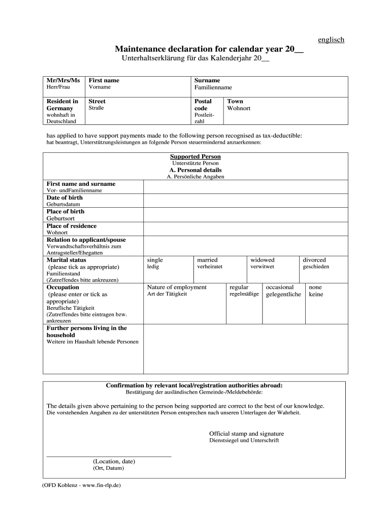 Maintenance Declaration For Calendar Year - Fill Out And Large Fill In Calendar