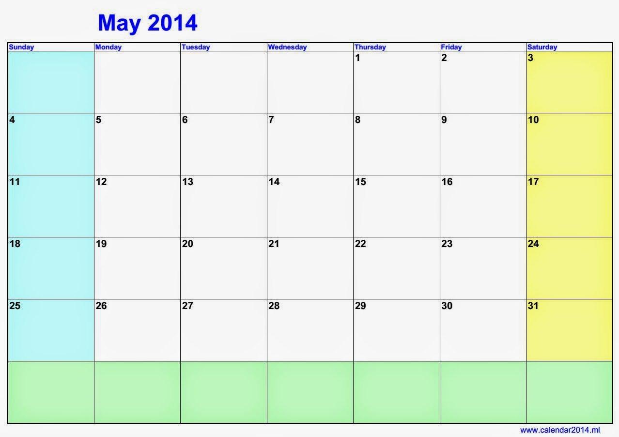 May Blank Calendar 2014 | 2016 Blank Calendar - Calendar Where R My Blank Calendars