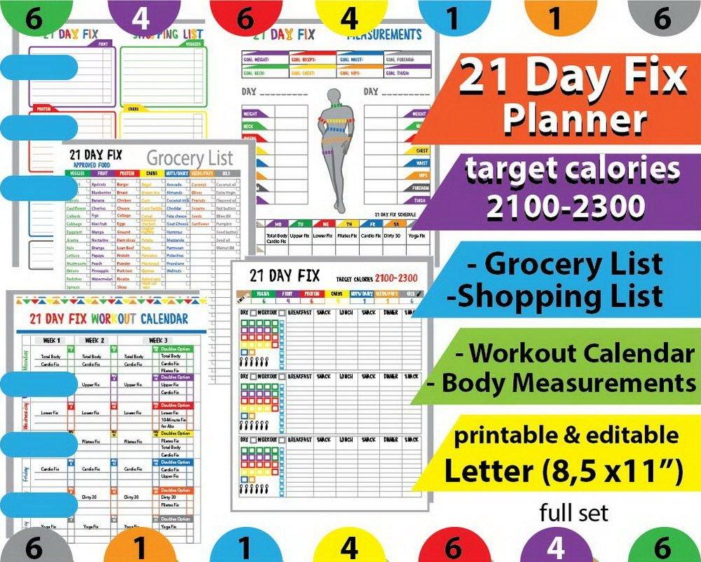 Meal Planner Template, 2100 Calorie Bracket, Grocery List 21 Day Calendar Template