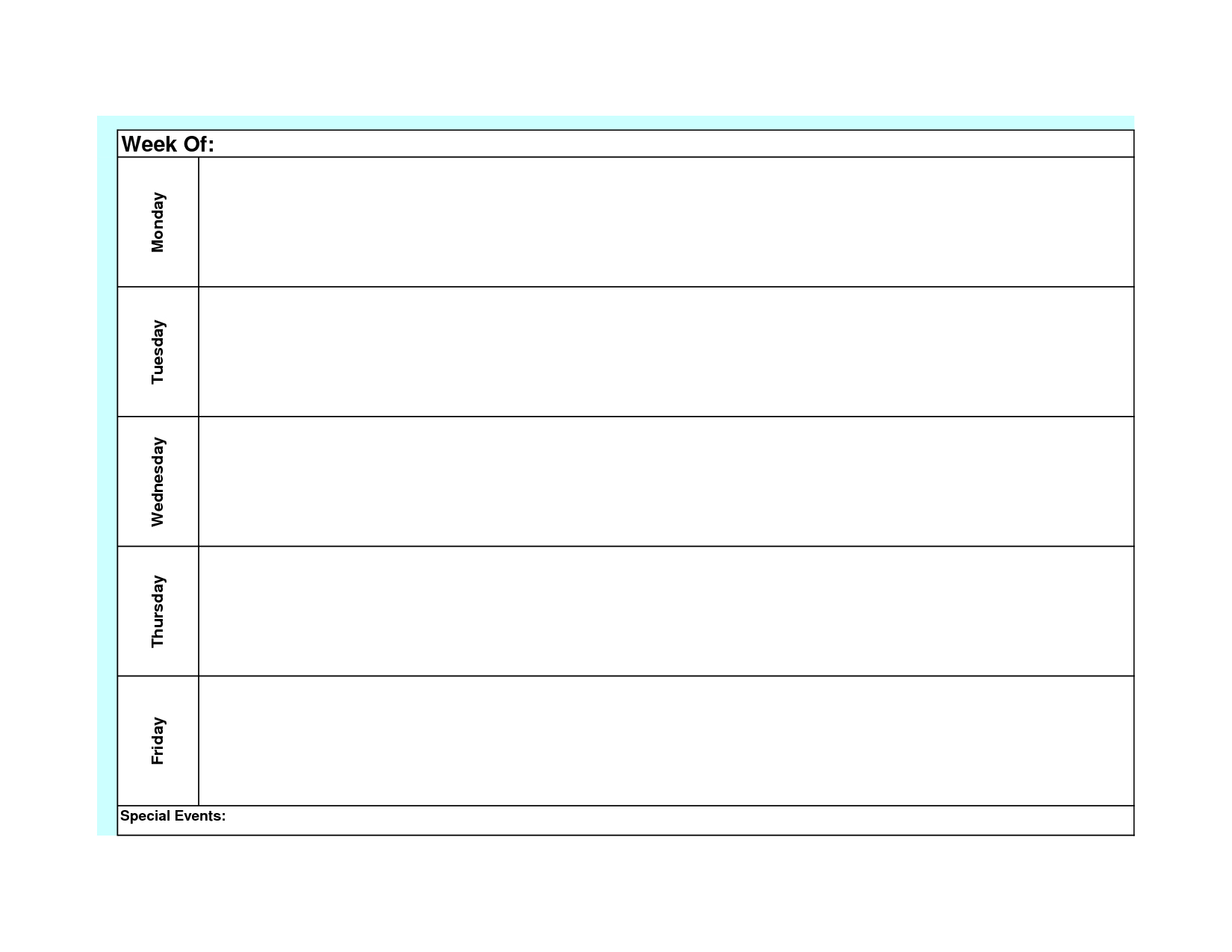 Mnday To Friday Calendar Templates :-Free Calendar Template Free Monthly Printable Calendar Monday Through Friday
