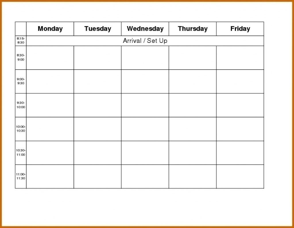 Monday Friday Blank Calendar   Calendar Template Printable Monday Friday Printable Template