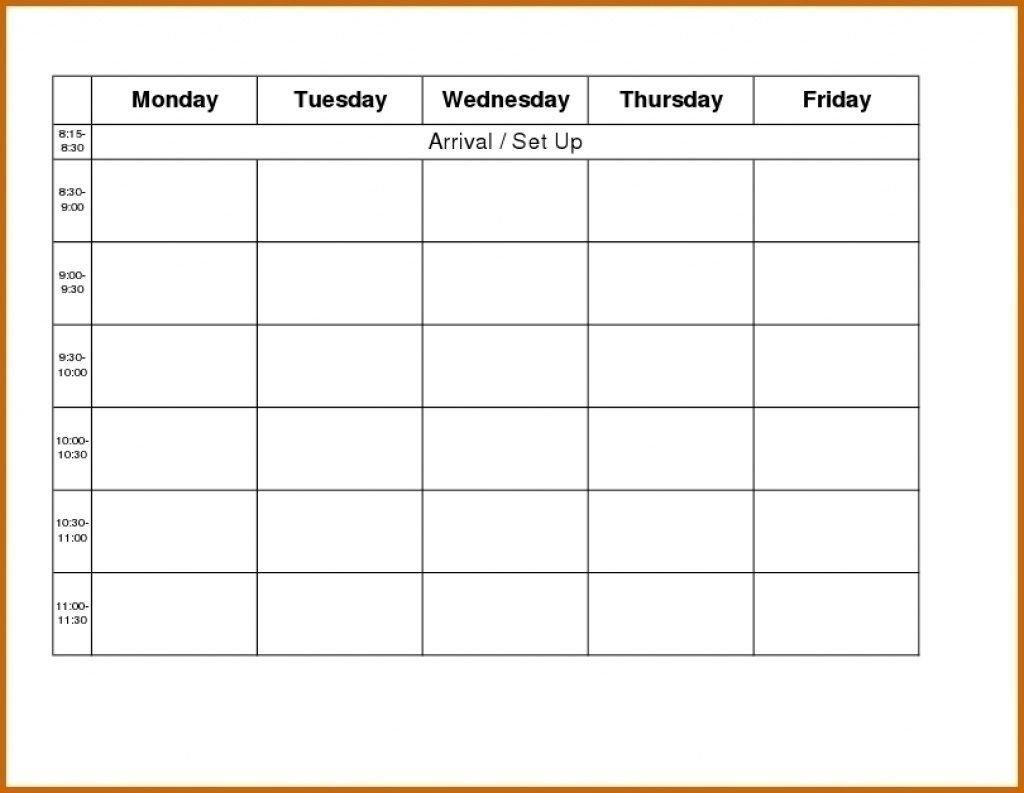 Monday Friday Blank Calendar   Calendar Template Printable Monday Friday Schedule Printable