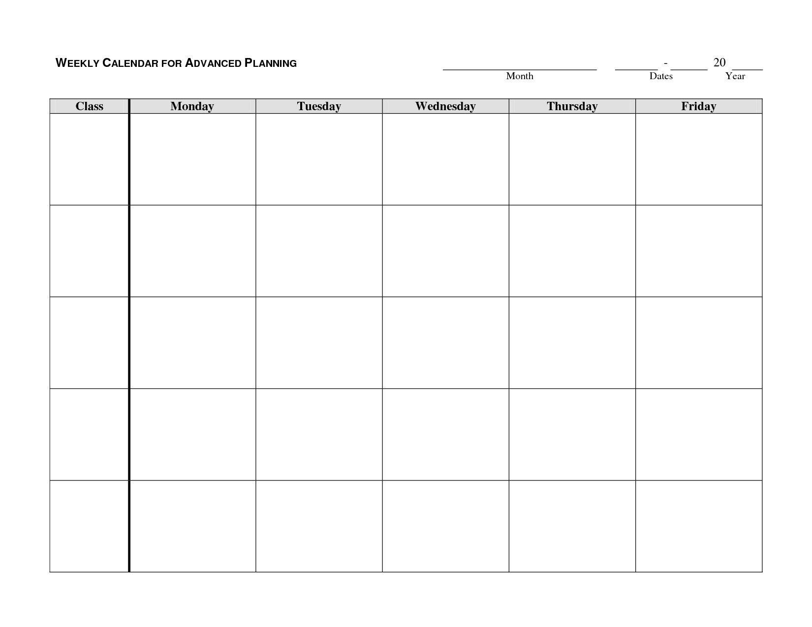 Monday-Friday Blank Weekly Schedule   Calendar Template Monday Thru Friday Calender