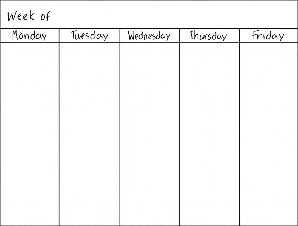 Monday Friday Calendar Template Printable Graphics Monday Friday Printable Template