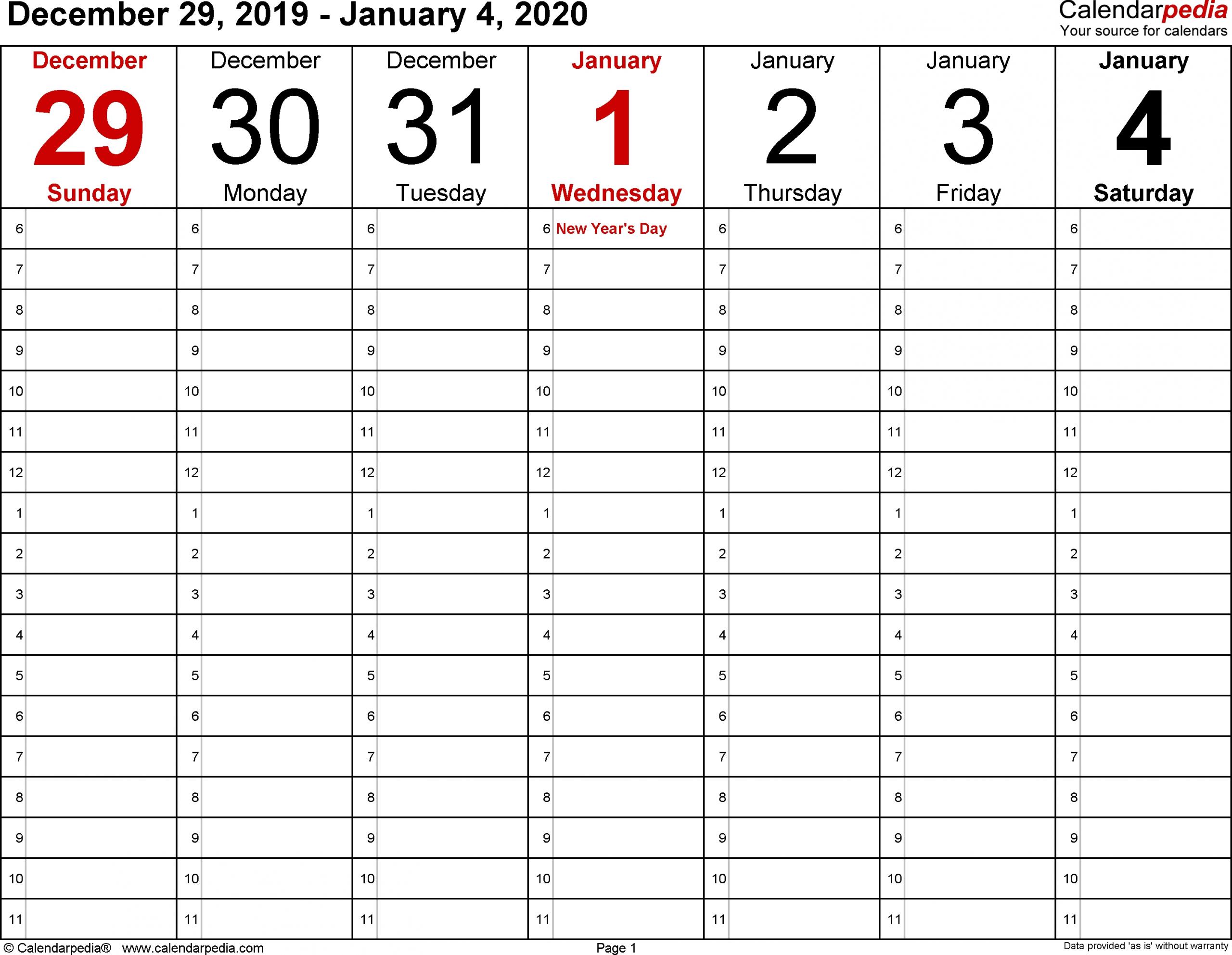 Monday Through Friday Blank Calendar 2020 Printable | Free Printable Weekly Calendar Monday - Friday