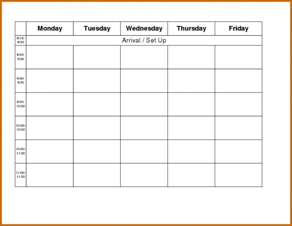 Monday Through Friday Calendar Template - Template Free Blank Monday Through Friday Calander
