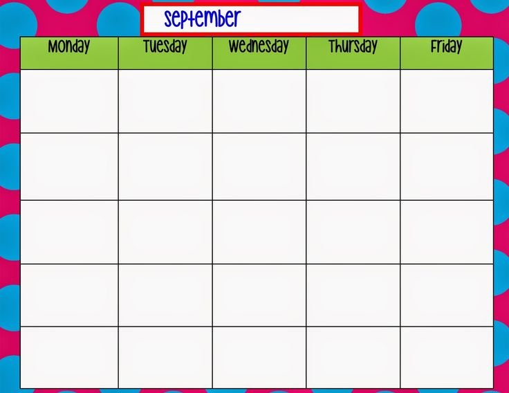 Monday Through Friday Calendar Template   Weekly Calendar 4 Week Calendar Template With Enterable Date