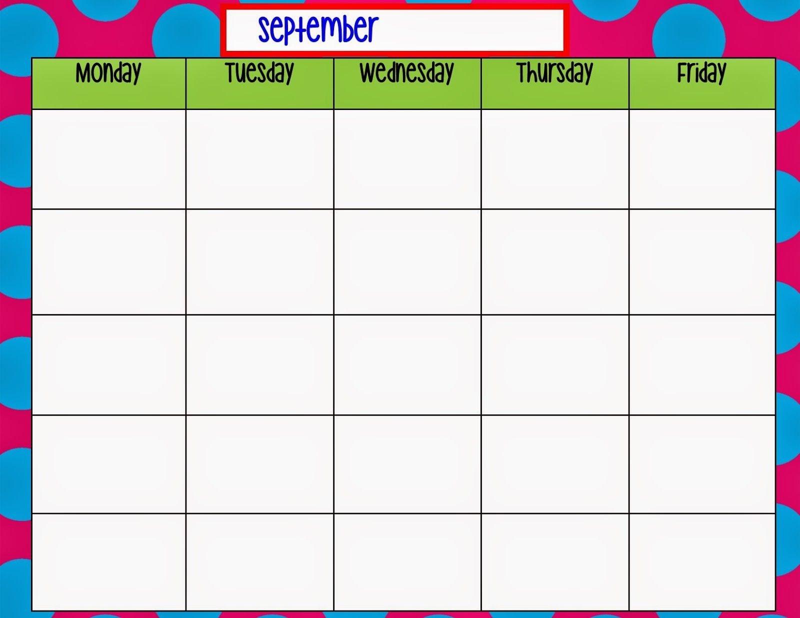 Monday Through Friday Calendar Template Weekly Calendar Monday Through Friday Calendar Printable