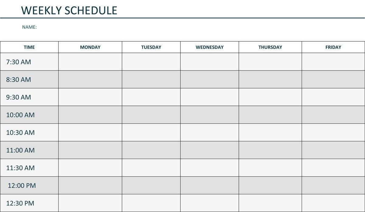 Monday Through Friday Daily Planner - Calendar Inspiration Printable Weekly Calendar Monday Through Friday
