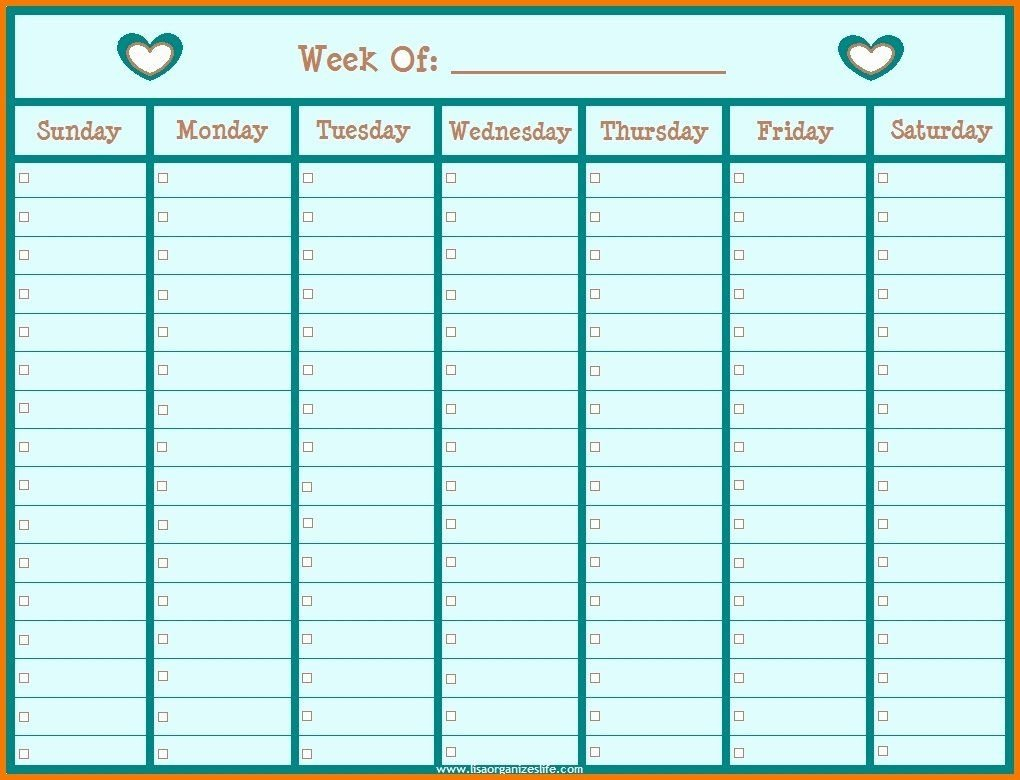 Monday Through Friday Hourly Calendar In 2020 | Weekly Monday To Friday Planner Template Printable