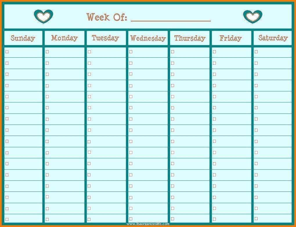 Monday Through Friday Hourly Calendar In 2020   Weekly Printable Monday To Friday Calendar