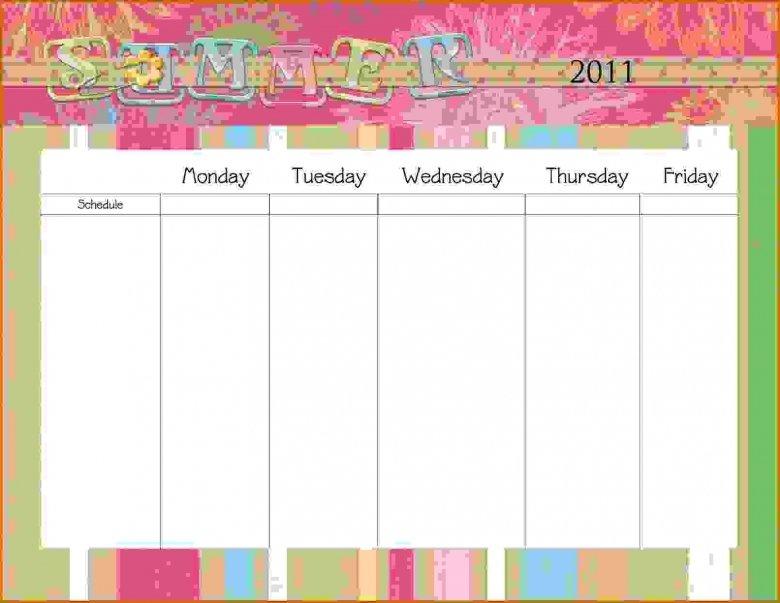 Monday Through Friday Printable Calendar :-Free Calendar Monday Friday Schedule Printable