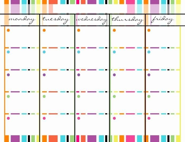 Monday Through Friday Printable Calendar November Monday Free Blank 1 Week Calendar Monday Through Friday