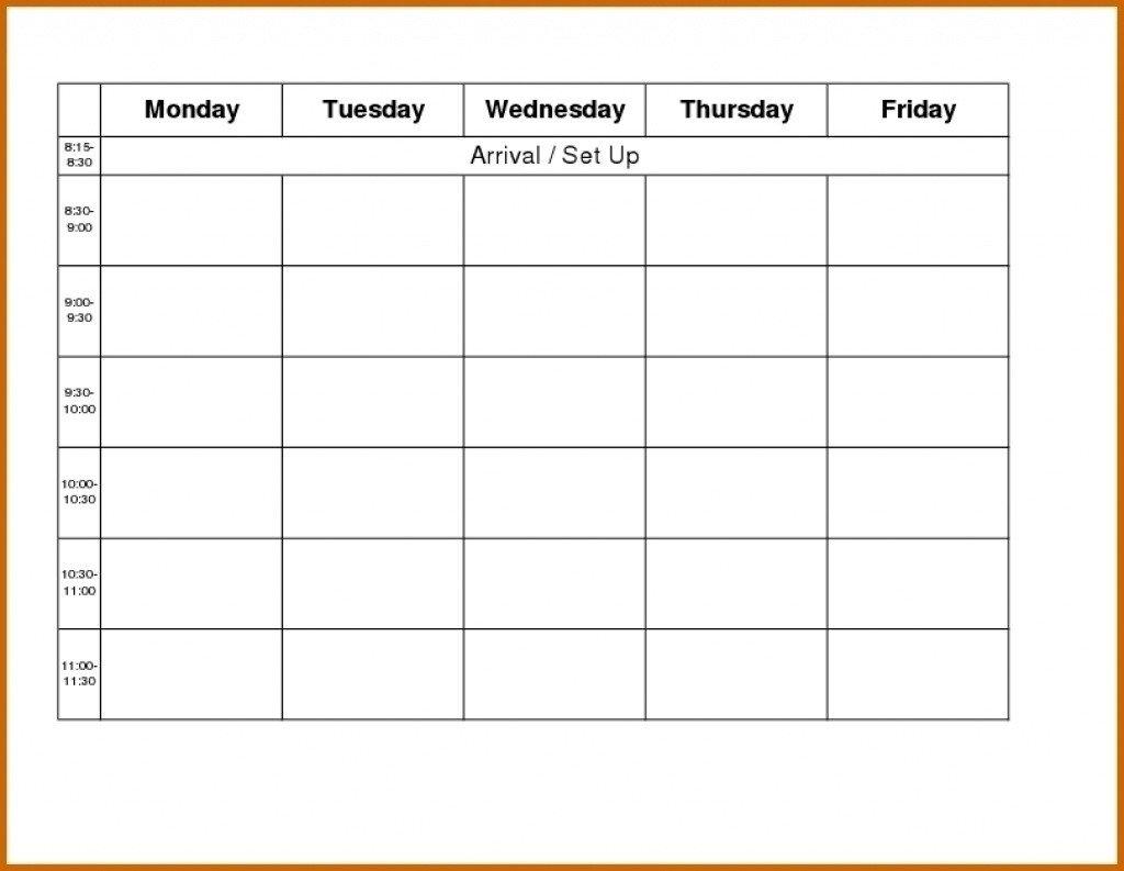 Monday Through Friday Schedule Template   Calendar Printable Monday To Friday Calendar