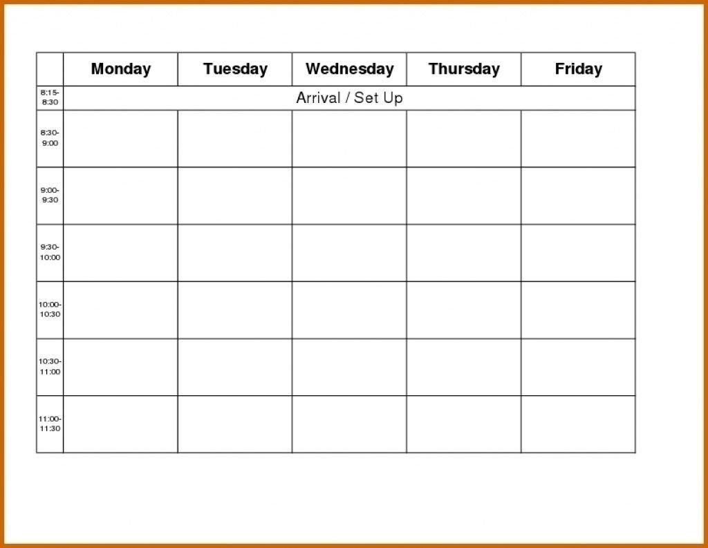 Monday To Friday Blank Calendar Printable | Calendar Monday Through Friday Calendar Printable