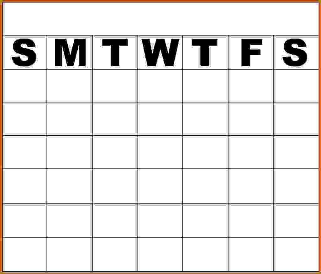 Monday To Friday Blank Calendar Template - Template Monday Thru Friday Calender