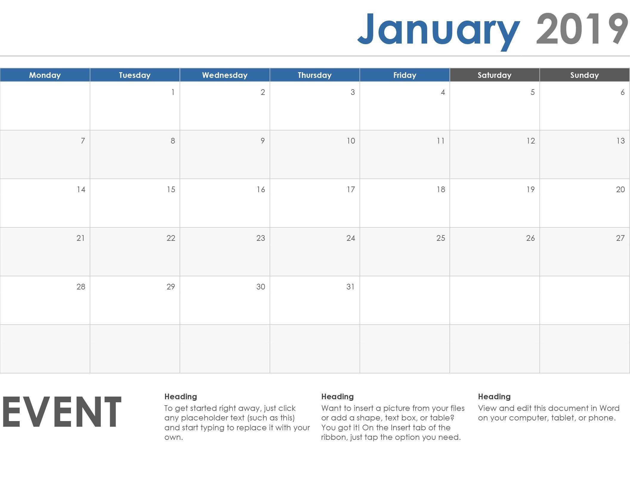 Monday To Friday Calendar Template | Calendar Template Monday Friday Printable Template