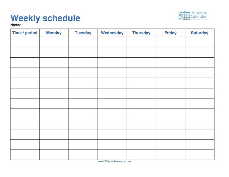 Monday To Friday Schedule Template Calendar Printable Monday To Friday Calender Template
