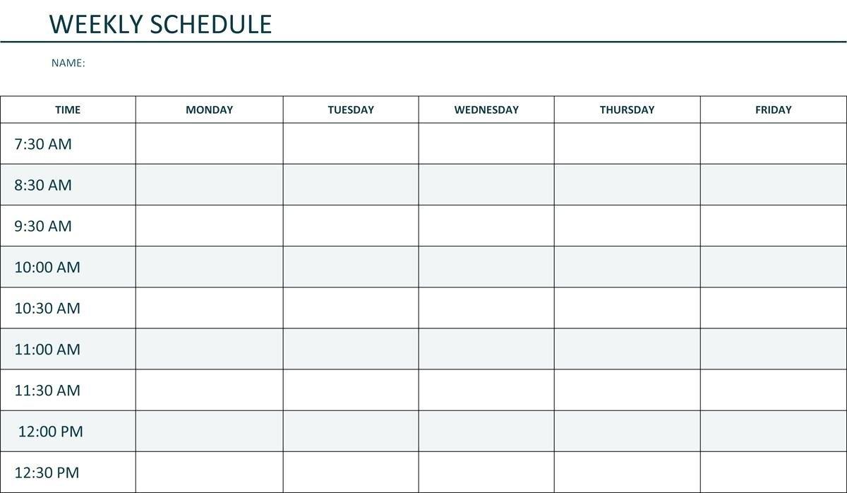 Monday To Friday Schedule Template   Example Calendar Monday Friday Schedule Printable