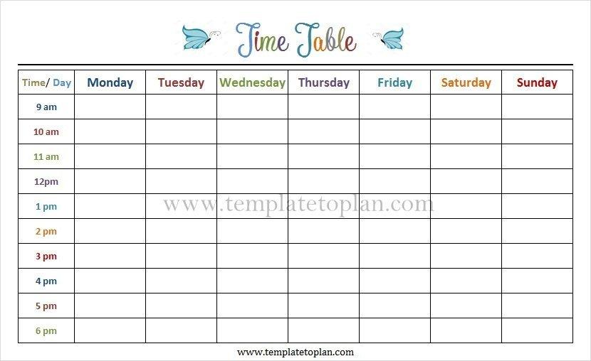 Monday To Friday Tempate Printable :-Free Calendar Template Monday Friday Schedule Printable
