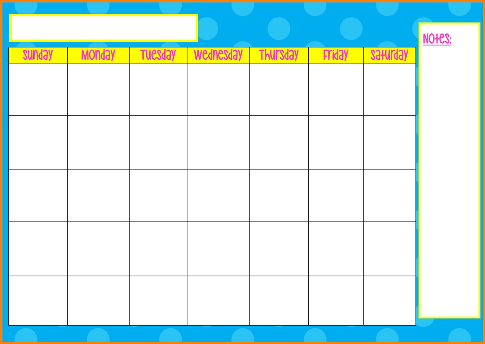 Monday To Friday Tempate Printable :-Free Calendar Template Monday To Friday Calender Template