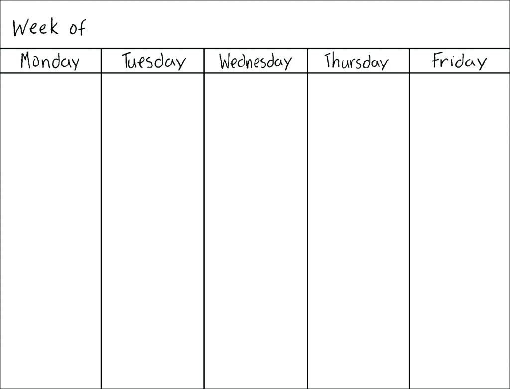 Monday To Friday Template   Calendar Template Printable Blank Calendar Template Monday Friday