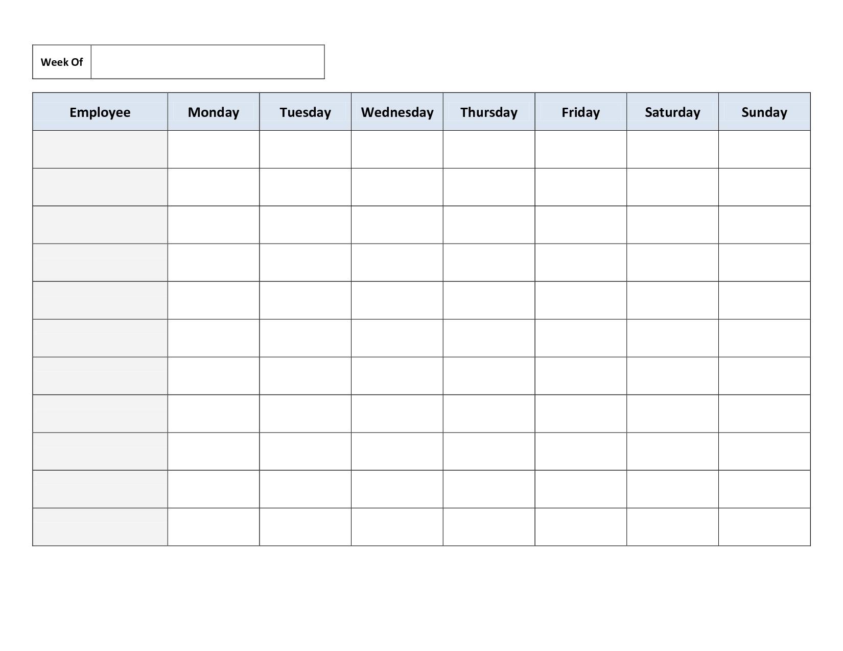 Monday To Sunday Calendar Template Writing Practice Free Printable Monday Sunday Schedule