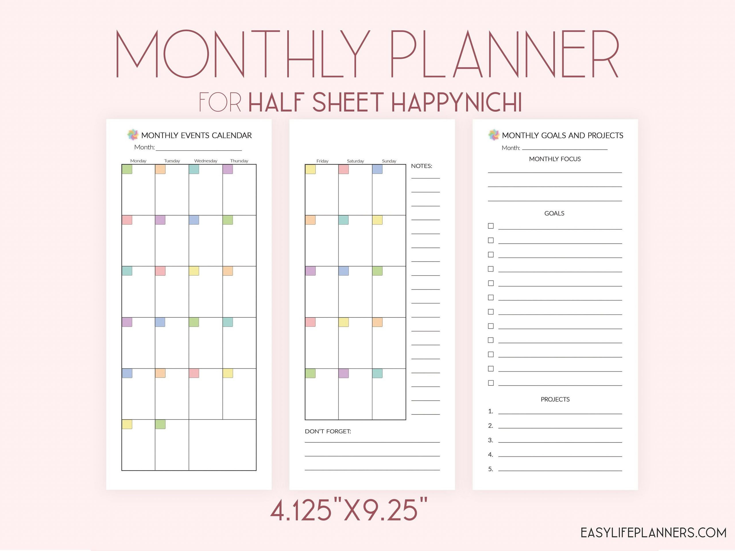 Month On Two Pages, Half Sheet Happy Planner, Happynichi Half Sheet Calendar Template Free