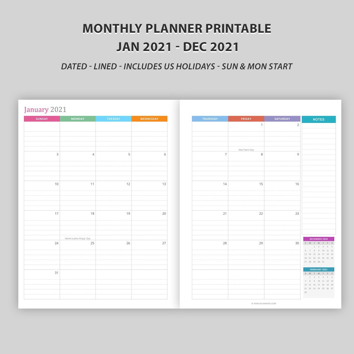 Monthly Calendar 2021 - Vertical Layout - Download Free Free Printable Lined Monthly Calendar