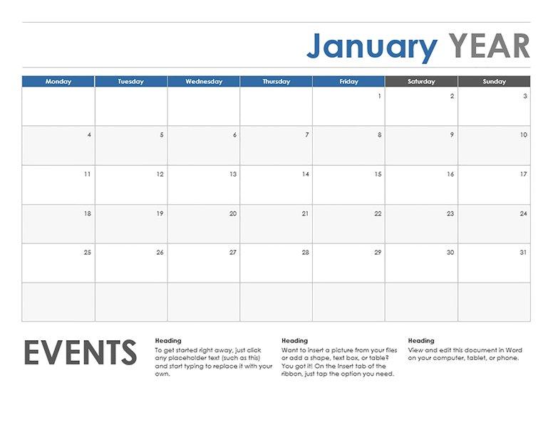 Monthly Calendar Starting With Monday - Printable Week Monday Thru Sunday Menu Template