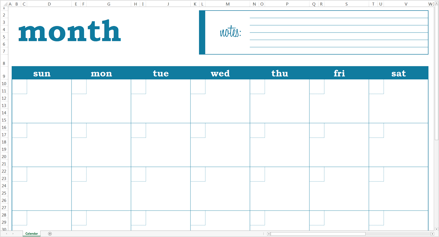 Monthly Calendar Template 2018 Google Sheet | Blank Online Birthday Calenders To Fill In