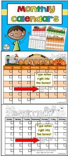 Monthly Calendar Templates Editable | Classroom Calendar Free Editable Preschool Calendar Template
