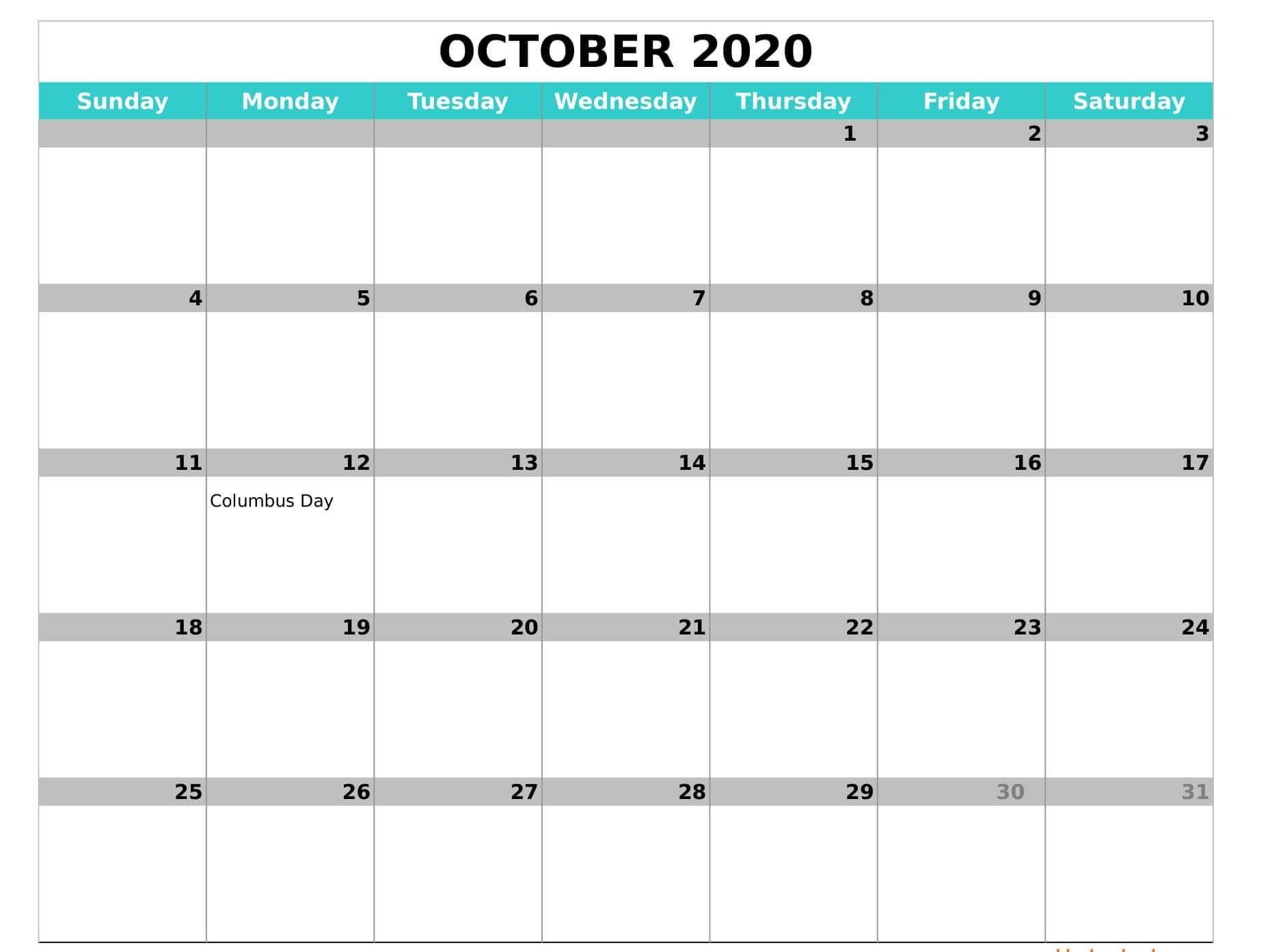 Monthly October 2020 Calendar Editable | Calendar Template 12 Month Calendar Editable Templates