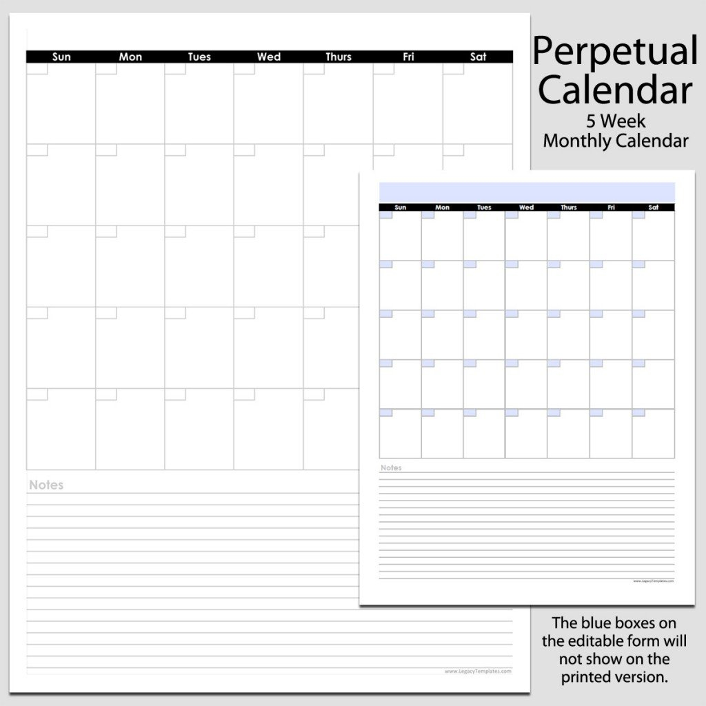 Monthly Perpetual Calendar With Notes In Portrait - 8 1/2 5 1/2 By 8 1/2 Weekly Calendar Printable
