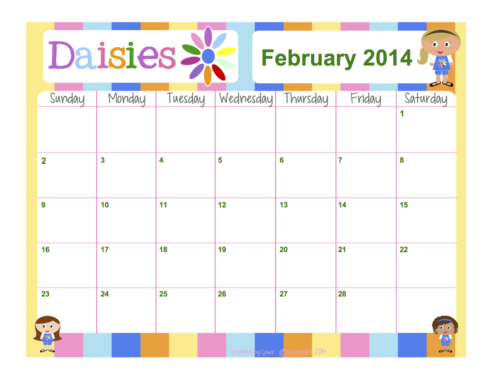 My Fashionable Designs: Girl Scouts - Daisies Free Blank Calendar To Fill In Activities