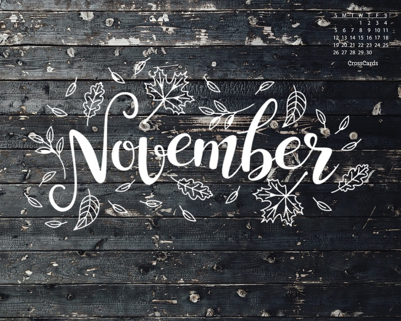 November 2017 - Fall Doodle Desktop Calendar- Free Crosscards Monthly Calendar For Desktop