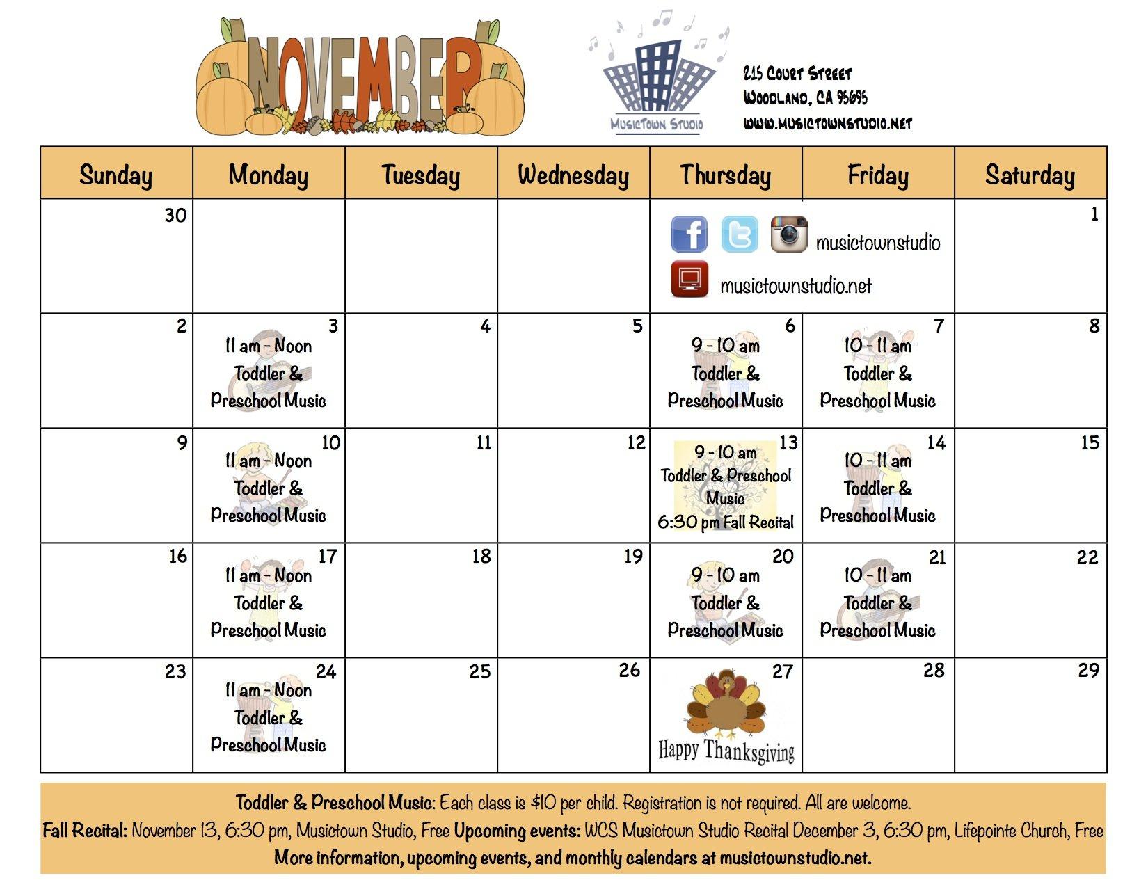 November News | Musictown Studio | Musictown Studio June On Call Calendar