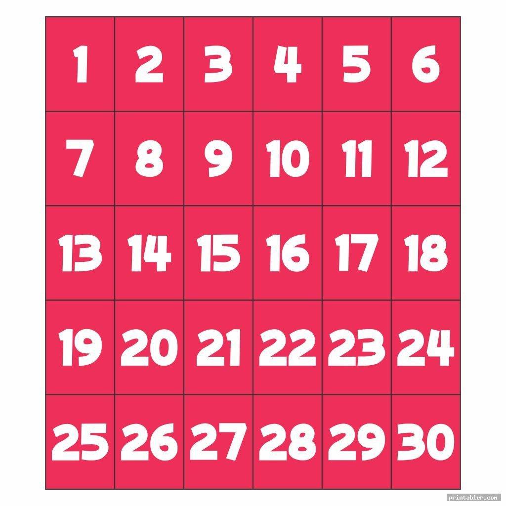Number Flashcards 1-30 Printable - Gridgit Free Printable Numbers Flashcards 1 To 31